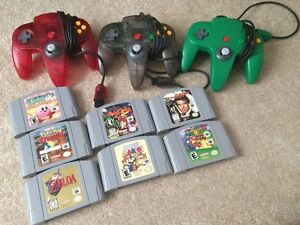 Nintendo 64 games and controllers