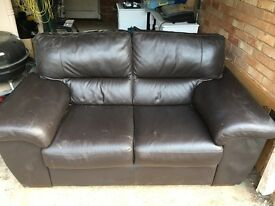 Brown sofa in very good condition and footrest