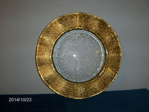 VINTAGE GLASS SERVING PLATE-FROSTED-GOLD COLOR TRIM-UNIQUE!