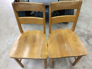 Antique solid wood school chairs