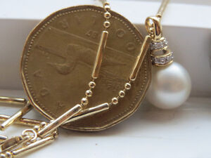 14k Sea pearl diamond necklace