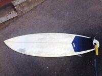 "5'9"" wired custom epoxy resin surfboard"