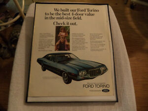 OLD FORD TORINO CLASSIC CAR FRAMED ADS Windsor Region Ontario image 4
