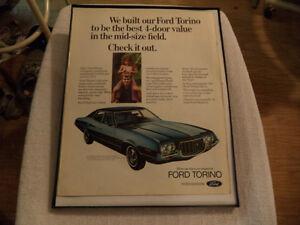 OLD FORD TORINO CLASSIC CAR FRAMED ADS Windsor Region Ontario image 4