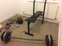 Weights and bench and bars for sale