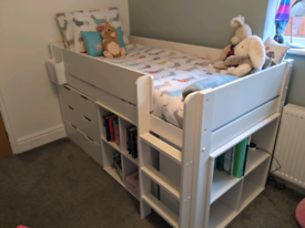 stompa mid sleeper with drawers,storage and desk