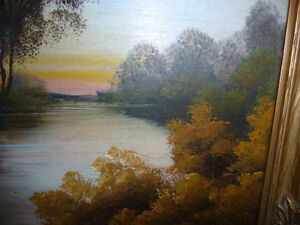 """Vintage Oil Painting, """"Early Morning River"""" 1920's Stratford Kitchener Area image 9"""