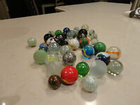 """Lot of 42 Vintage """"Shooter"""" Marbles for sale - various styles"""