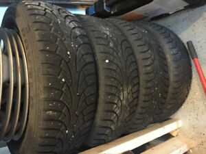 Winter tires on Rims 195/60/R15 for 5 bolts GM used 1 season