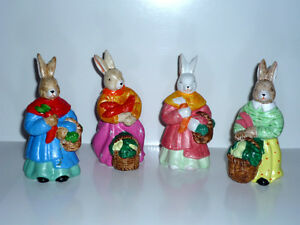 4 Porcelain Easter Rabbits : As Shown : Excellent Condition