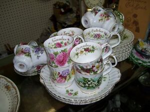 Vintage Royal Albert Fine Bone China Months of Year Dishes