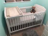 Solid cot and wardrobe refurbished white shabby chic.