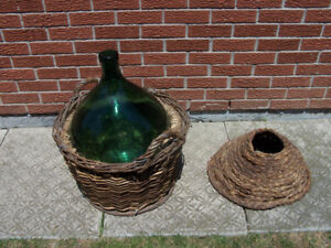 Green 54 Litre green glass carboy  in wicker basket