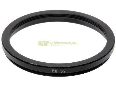 Anello adattatore step down 58/52mm. x montare filtri 52mm su obiettivi diam. 58