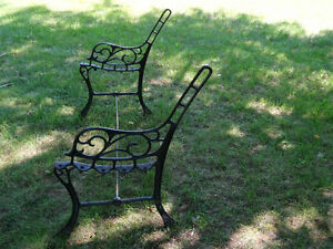 Vintage Cast Iron Bench ends with arm rest, stabilizer rod,bolts