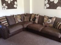 Brown corner sofa scatter cushions suede base