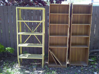 Free 2 Bookcases & 1 Metal Shelving Unit