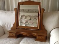 SOLID BARE PINE DRESSING TABLE MIRROR WITH 2 DRAWERS