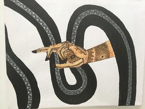 Tableau peint à la main (acrylique et henné)