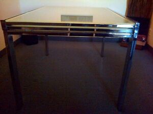 Art Shoppe glass and chrome Dining Table