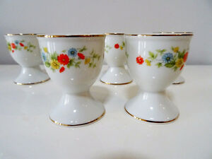 egg cups x6 GERBERA DAISY Crown Lefton 22K trim PORCELAIN