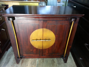 SMALL OAK CABINET WITH BRASS HARDWARE