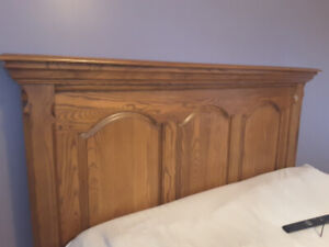 Solid Oak Canadian  made Queen size bed and tables