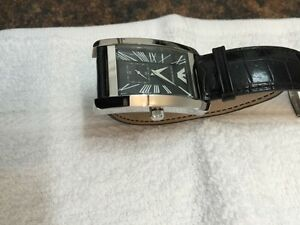 Armani rectangle mens watch with leather strap