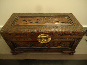 SOLID WOOD CARVED IMAGES STORAGE BOX