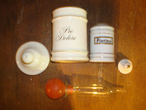 Antique Fiorina Jar w/Lid, Vtg Lilly Apothecary Jar?Lid, + Pump