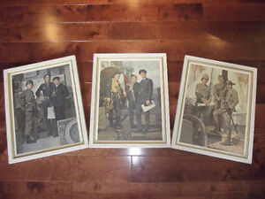 3 VINTAGE CANADIAN ARMY SOLDIER LITHOGRAPHS