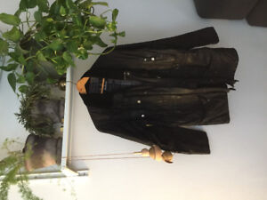 Men's Barbour Coat Large black waxed cotton *condition*