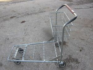 Flatbed Style WITH BASKET Nestable Wire Cart - Shopping Cart