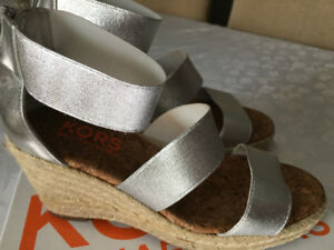 Michael Kors Silver wedge sandals in size 6.5-7 ladies