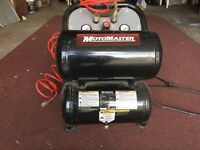 5 gallon twin stack air compressor with hose.