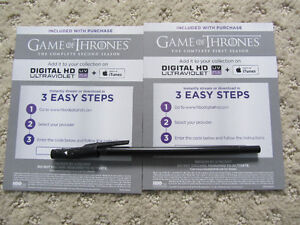 Digital Codes For Seasons 1 & 2 of Game Of Thrones (GOT)