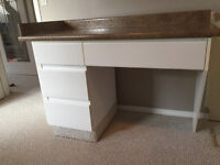 well made desk  with drawers and countertop