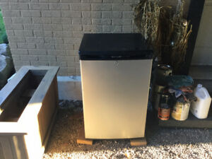 Compact fridge from Frigidaire, stainless steel