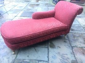 Red Upholstered Chaise Lounge Sofa on Castors - UK Delivery