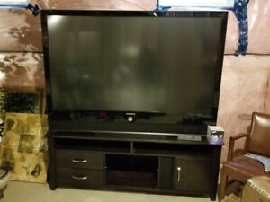 "SAMSUNG 71"" HDTV 1080P DLP TV AND SOLID WOOD CABINET/STAND"