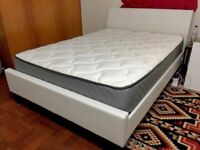Dreams White Leather Double Bed With Clean Mattress - Free Delivery In Southampton NO OFFERS!