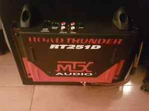 """Two 10"""" Rockford fosgate subs with box and road thunder amp"""