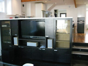 Beautiful dark wood, glass TV entertainment cabinet, cupboards
