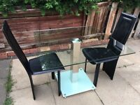 Glass square table and chairs
