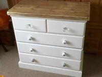 Pine handpainted chest of drawers