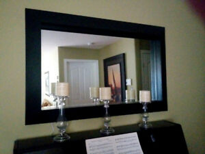 Large black framed beveled Mirror