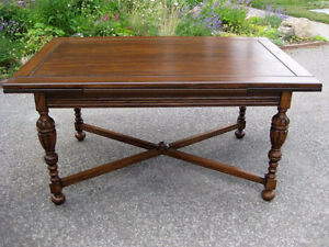 Attractive Antique Restored Oak Trestle Dining Table, Chairs