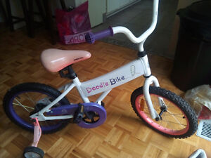 Child's Doodle Bike w training wheels for sale
