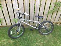 BMX green and silver bike