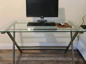Desk - glass and metal